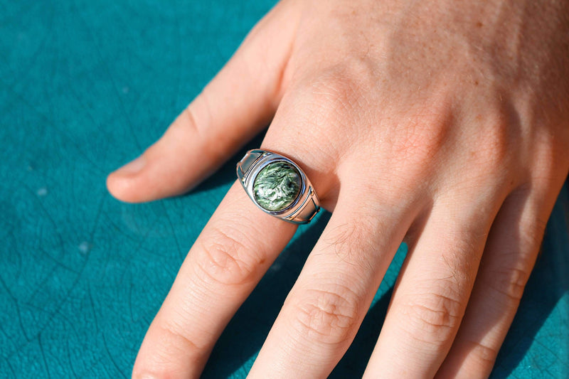 Seraphinite Iconic Stone Signet Ring in Sterling Silver