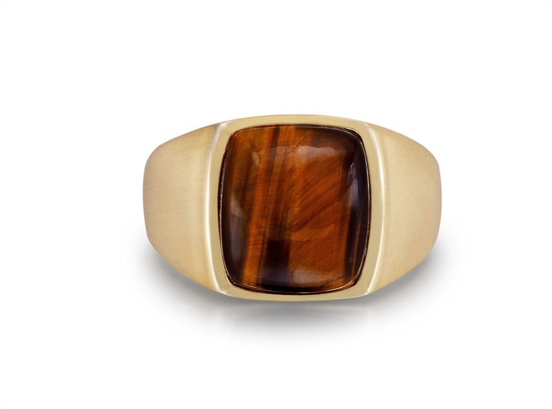 Chatoyant Red Tiger Eye Quartz Stone Signet Ring in 14K Yellow Gold Plated Sterling Silver