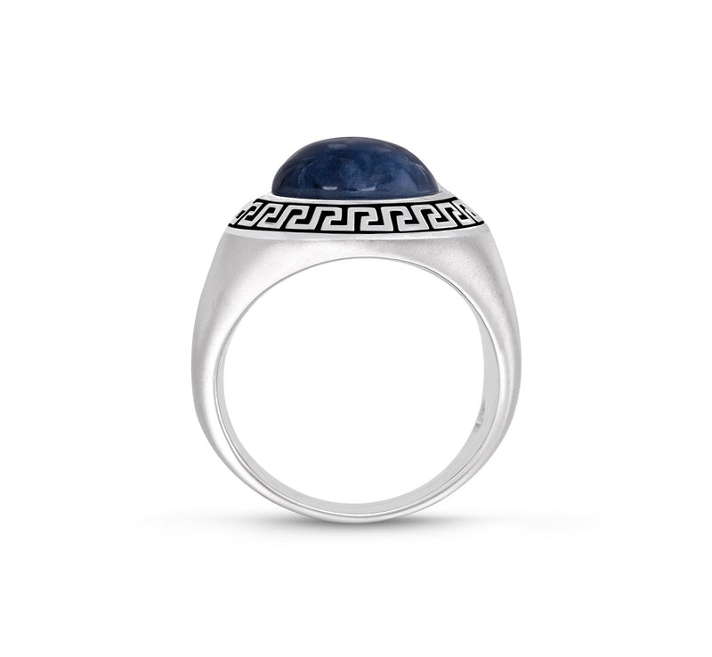 Blue Apatite Stone Signet Ring in Black Rhodium Plated Sterling Silver