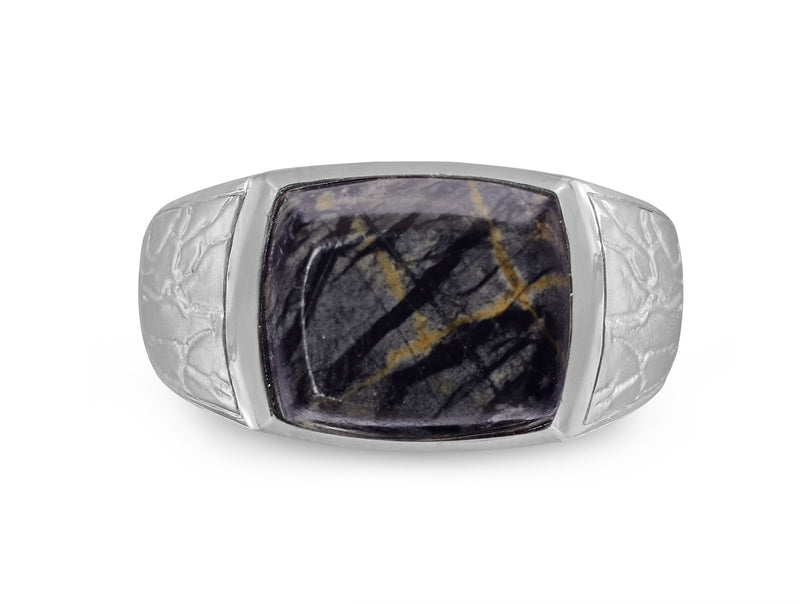 Grey Picture Jasper Stone Signet Ring in Sterling Silver