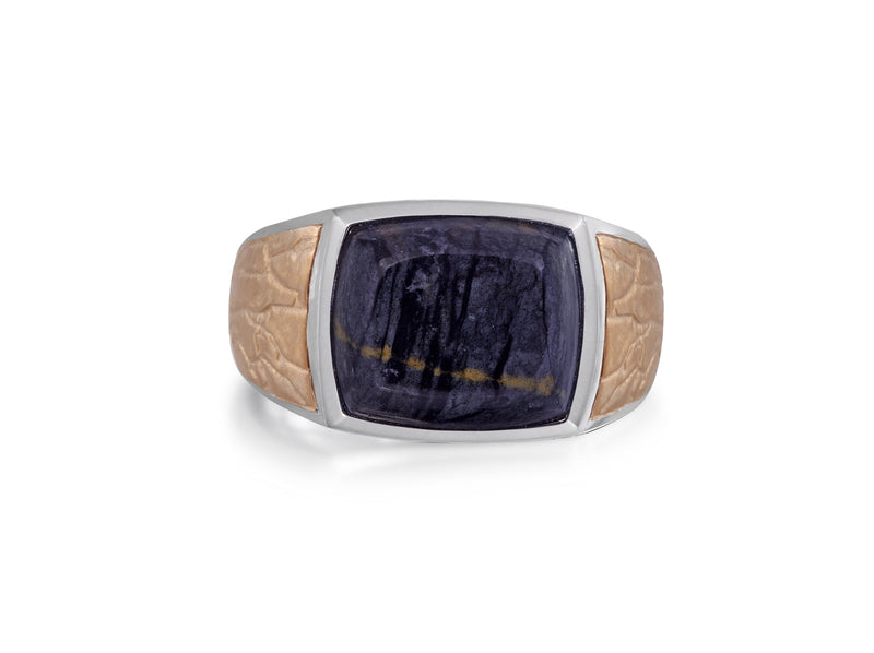 Grey Picture Agate Stone Signet Ring in Brown Rhodium Plated Sterling Silver
