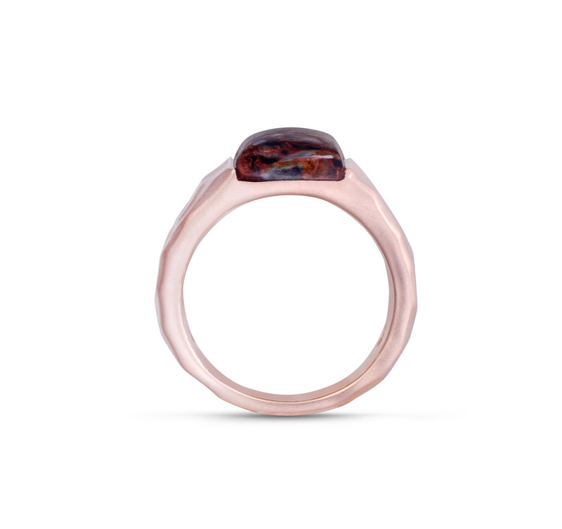 Red Pietersite Stone Signet Ring in 14K Rose Gold Plated Sterling Silver