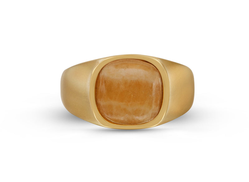 Yellow Lace Agate Stone Signet Ring in 14K Yellow Gold Plated Sterling Silver