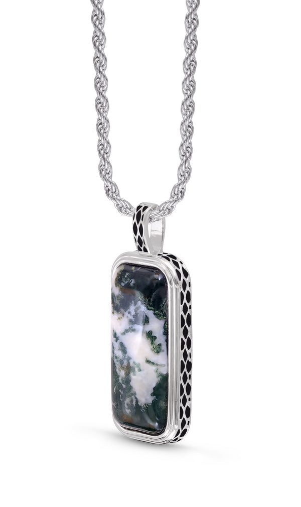 Tree Agate Stone Tag in Black Rhodium Plated Sterling Silver