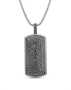 Fossil Agate Stone Tag in Black Rhodium Plated Sterling Silver