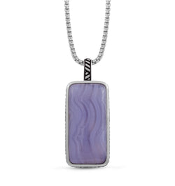 Blue Lace Agate Stone Tag in Black Rhodium Plated Sterling Silver
