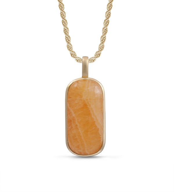 Yellow Lace Agate Tag in 14K Yellow Gold Plated Sterling Silver