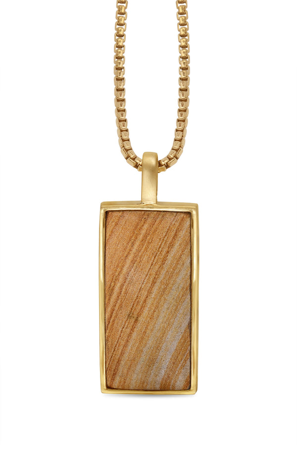 Wood Jasper Stone Tag in 14K Yellow Gold Plated Sterling Silver