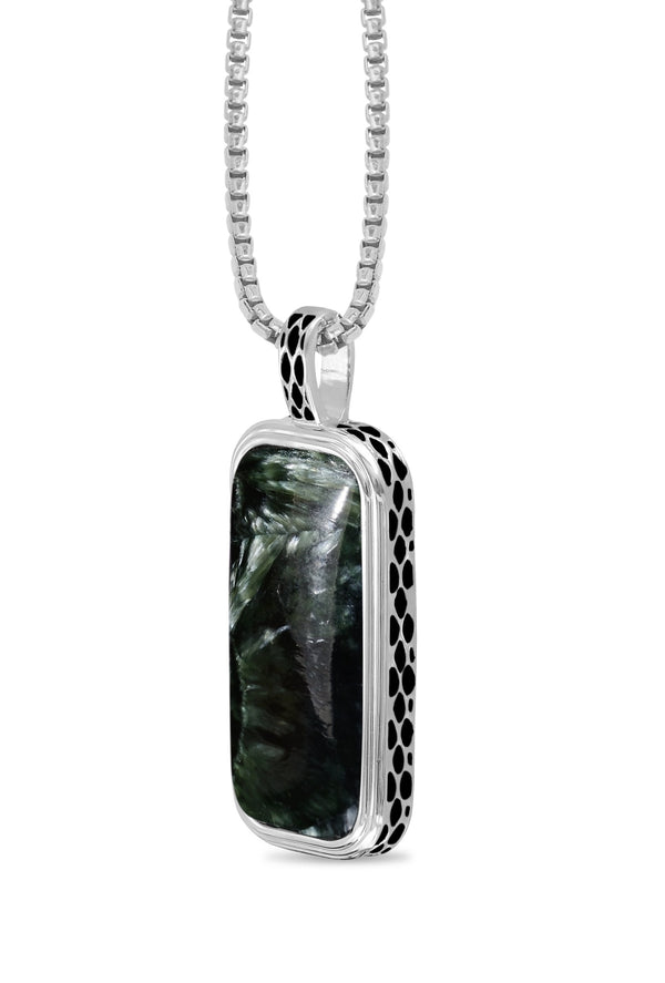 Seraphinite Stone Tag in Black Rhodium Plated Sterling Silver