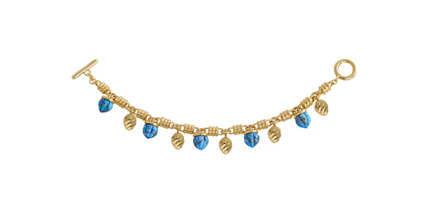 Sunshine Twist Turquoise Charms Bracelet in 14K Yellow Gold Plated Sterling Silver
