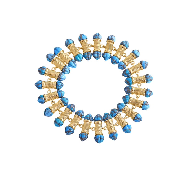 Twisted Rays Turquoise Bracelet in 14K Yellow Gold Plated Sterling Silver