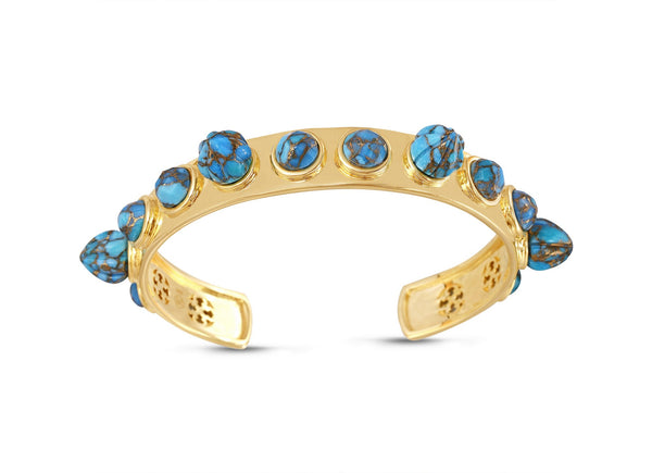 Sea Breeze Turquoise Studded Cuff in 14K Yellow Gold Plated Sterling Silver
