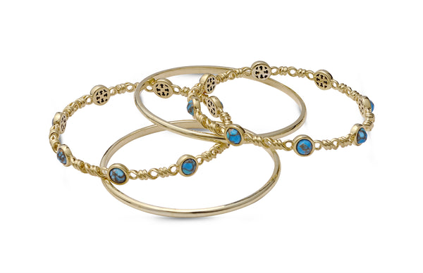 Sunshine & Sea Turquoise Stackable Bangles in 14K Yellow Gold Plated Sterling Silver