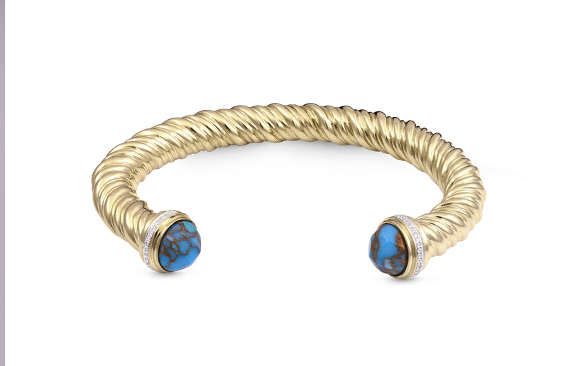 Summer Nights Turquoise & Diamond Cuff in 14K Yellow Gold Plated Sterling Silver