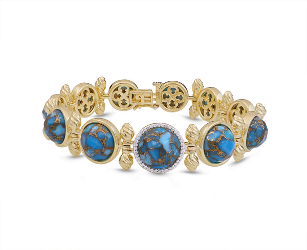 Summer Nights Turquoise & Diamond Bracelet in 14K Yellow Gold Plated Sterling Silver