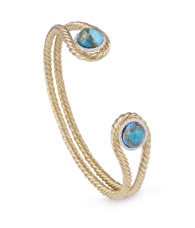 Glory of the Sun Turquoise & Diamond Cuff in 14K Yellow Gold Plated Sterling Silver