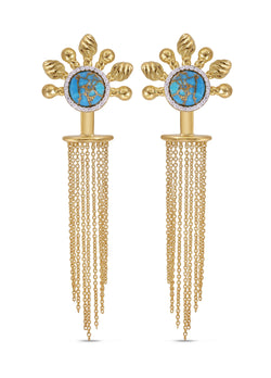 Floating Rays Half Sun Turquoise Detachable Diamond Earrings in 14K Yellow Gold Plated Sterling Silver