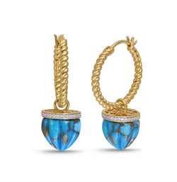 Summer Nights Turquoise & Diamond Hoop Earrings in 14K Yellow Gold Plated Sterling Silver