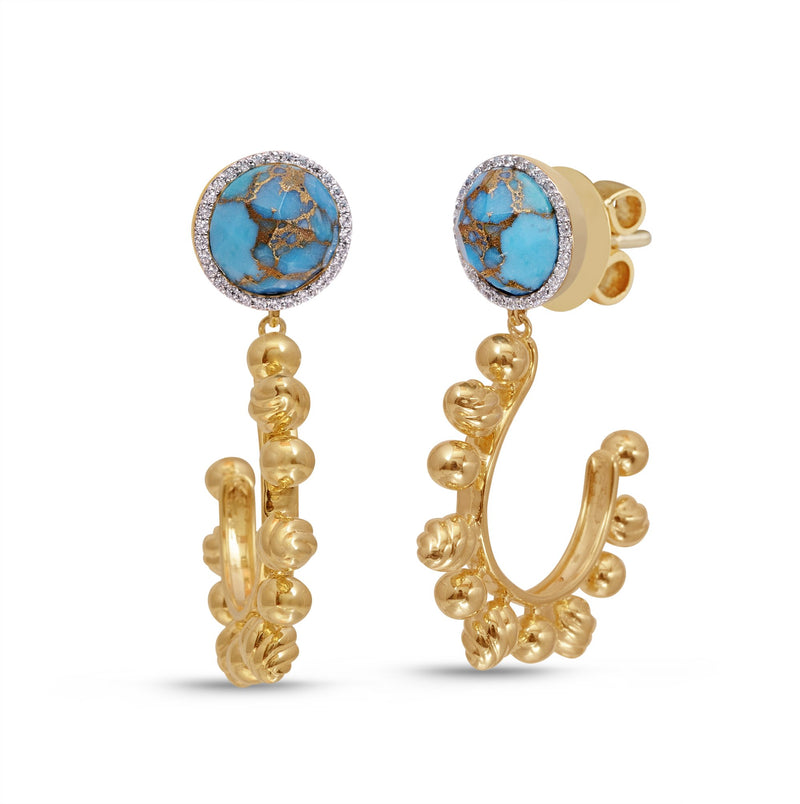 Rise & Shine Turquoise & Diamond Sun Earrings in 14K Yellow Gold Plated Sterling Silver