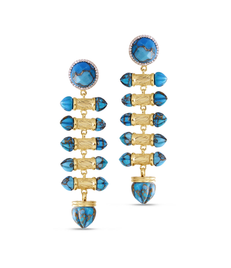 Twisted Rays Turquoise & Diamond Dangle Earrings in 14K Yellow Gold Plated Sterling Silver