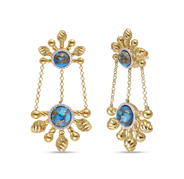 Sunny Cascade Turquoise & Diamond Half Sun Earrings in 14K Yellow Gold Plated Sterling Silver