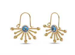 Day Break Half Sun Turquoise Diamond Earrings in 14K Yellow Gold Plated Sterling Silver
