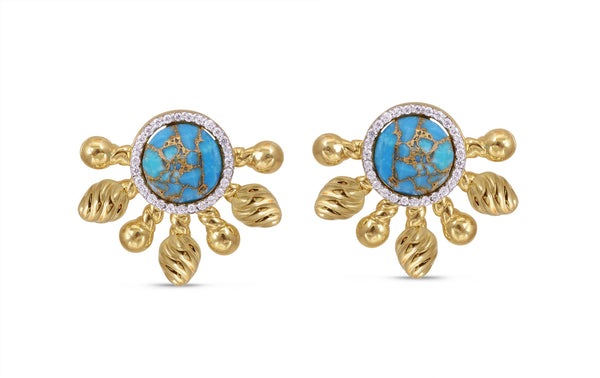 Sun-Day Turquoise & Diamond Half Sun Stud Earrings in 14K Yellow Gold Plated Sterling Silver