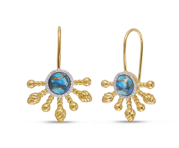 Sun-Day Slide On Turquoise & Diamond Half Sun Earrings in 14K Yellow Gold Plated Sterling Silver