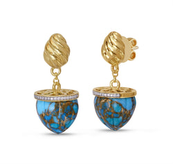 Glory of the Sun Turquoise & Diamond Drop Earrings in 14K Yellow Gold Plated Sterling Silver