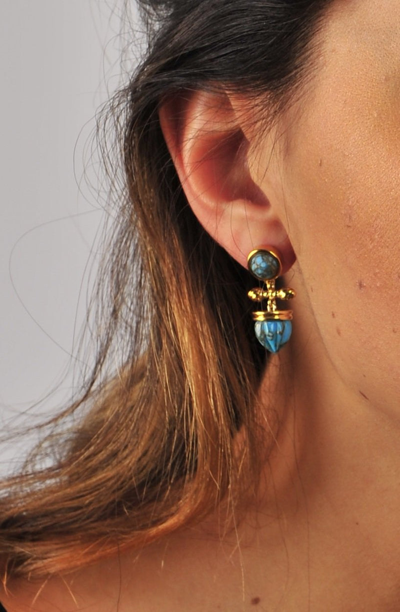 Golden Rays Turquoise Drop Earrings in 14K Yellow Gold Plated Sterling Silver