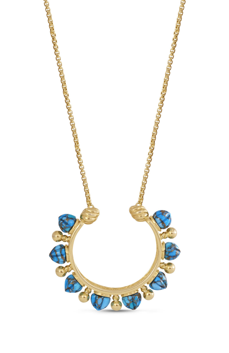 Circle of Fire Turquoise Necklace in 14K Yellow Gold Plated Sterling Silver