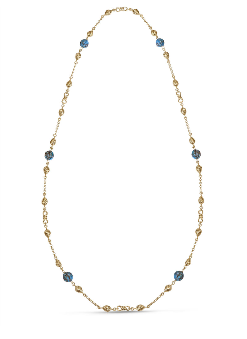 Summer Nights Turquoise Layered Necklace in 14K Yellow Gold Plated Sterling Silver