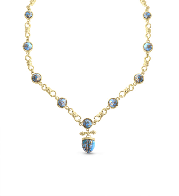 Twisted Rays Turquoise Necklace in 14K Yellow Gold Plated Sterling Silver
