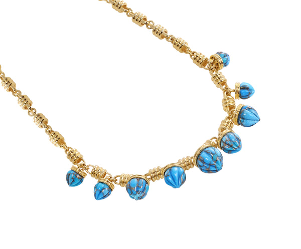 Sunshine Twist Turquoise Studded Necklace in 14K Yellow Gold Plated Sterling Silver