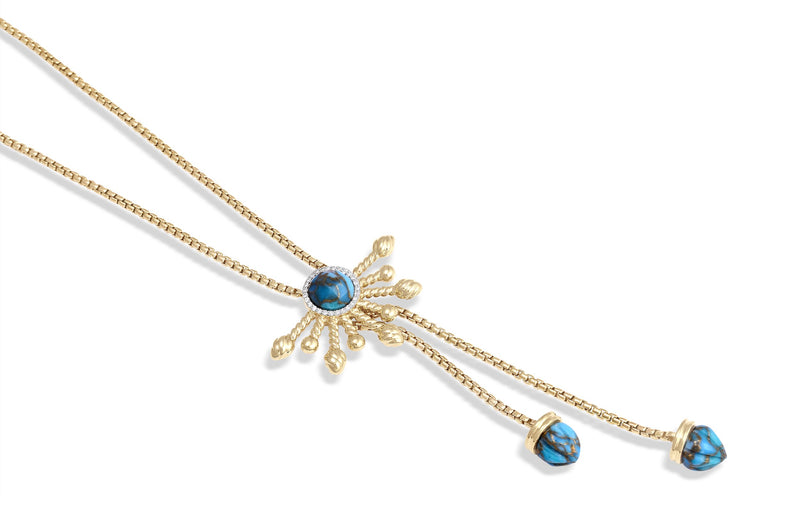 Golden Rays Turquoise Half Sun Diamond Lariat Necklace in 14K Yellow Gold Plated Sterling Silver
