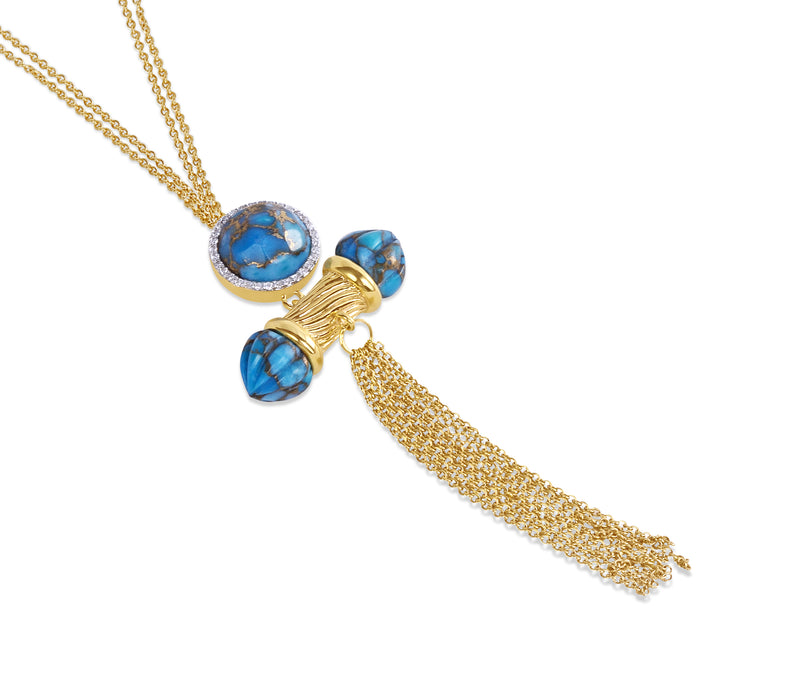 Sunkissed Turquoise & Diamond Fringe Necklace in 14K Yellow Gold Plated Sterling Silver