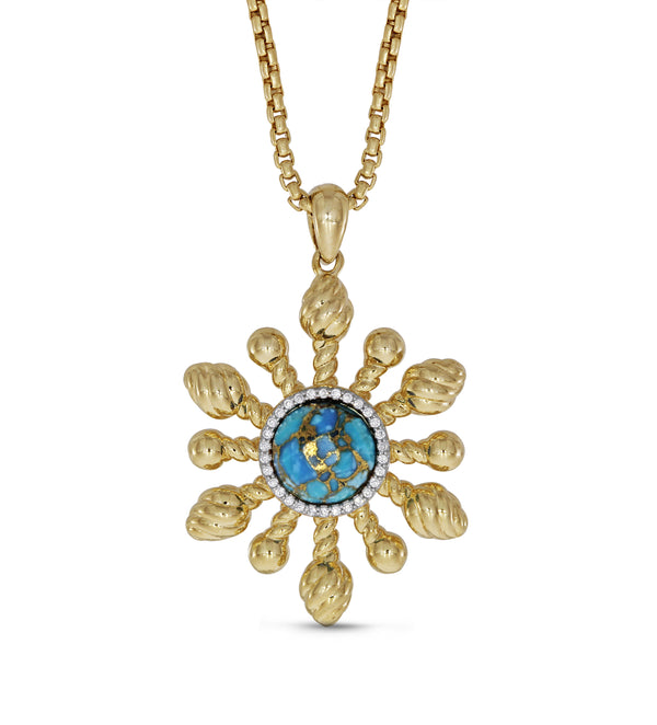 Sunny Side Up Turquoise & Diamond Sun Pendant in 14K Yellow Gold Plated Sterling Silver