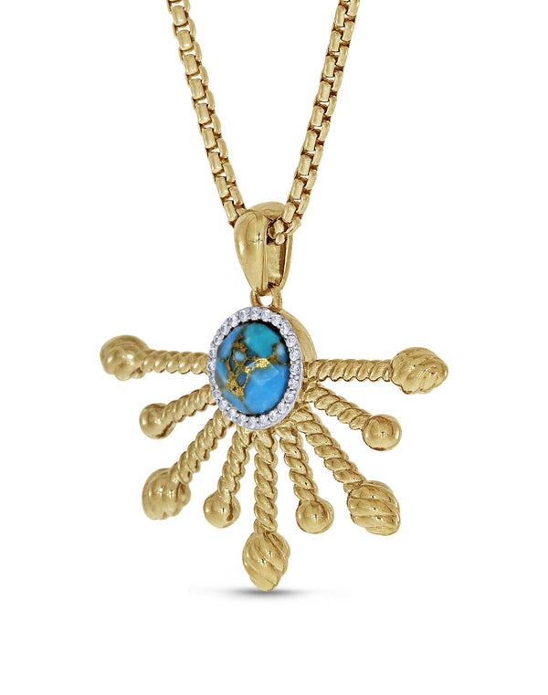 Day Break Half Sun Turquoise Diamond Pendant in 14K Yellow Gold Plated Sterling Silver