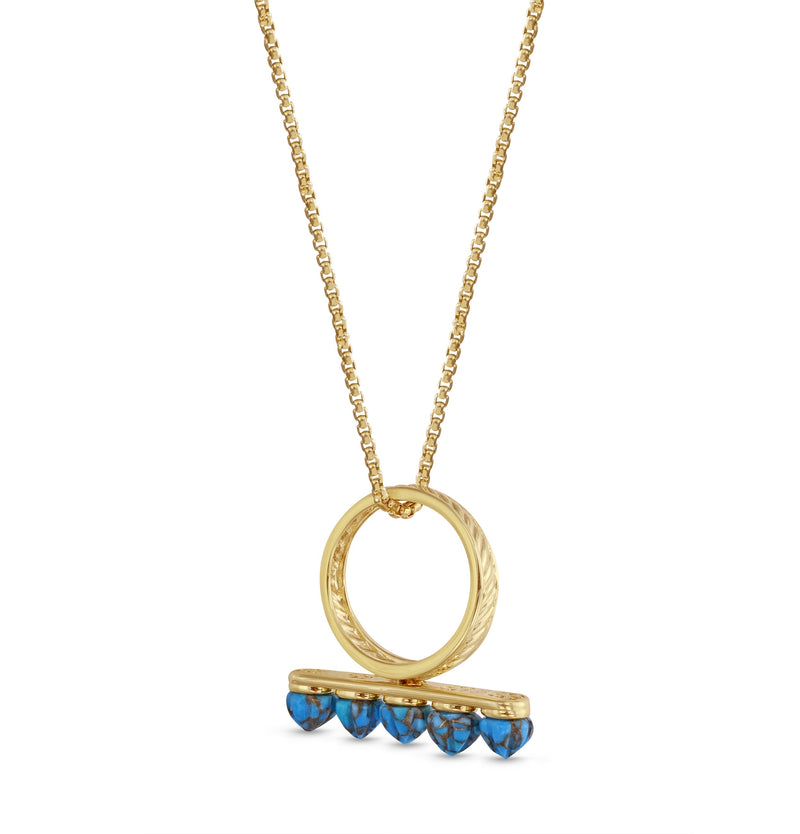Summer Nights Turquoise Multistone Ring & Pendant in 14K Yellow Gold Plated Sterling Silver