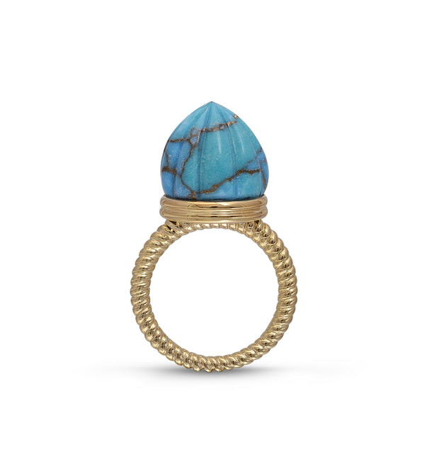 Summer Nights Turquoise Single Stone Ring & Pendant in 14K Yellow Gold Plated Sterling Silver