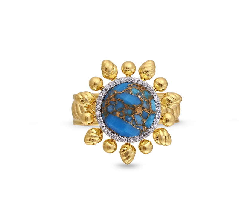 Rise & Shine Turquoise & Diamond Detachable Sun Ring in 14K Yellow Gold Plated Sterling Silver