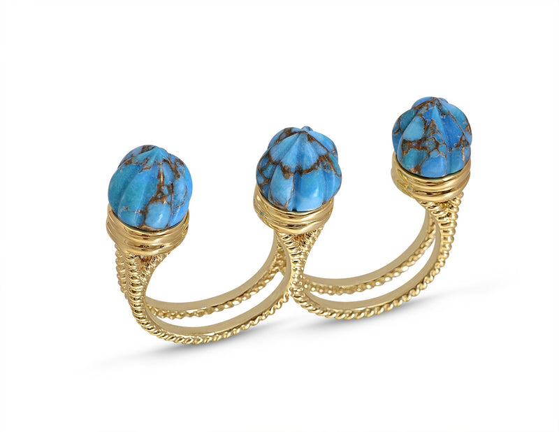 Sea Breeze Multi-Finger Turquoise Open Ring in 14K Yellow Gold Plated Sterling Silver