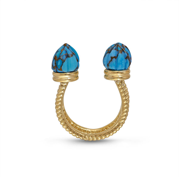 Sea Breeze Turquoise Open Ring in 14K Yellow Gold Plated Sterling Silver