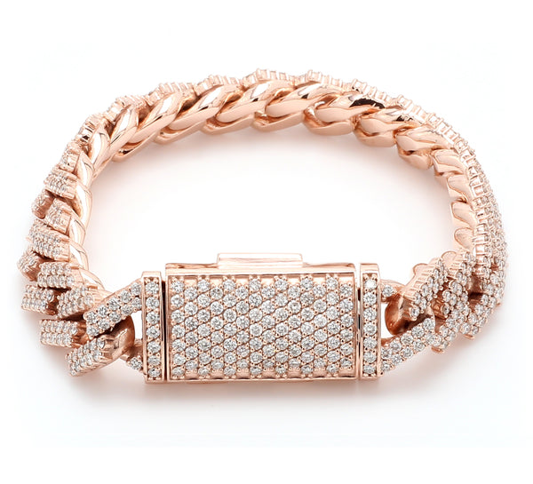 10K Solid Rose Gold Diamond Cuban Link Bracelet