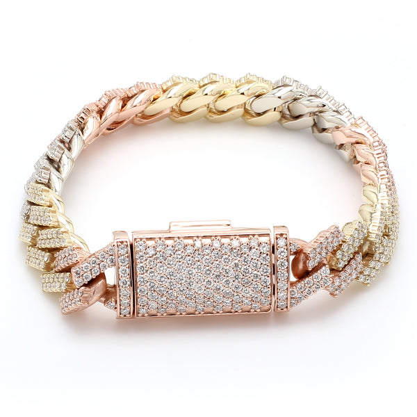 Three Tone 10K Solid Gold Diamond Cuban Link Bracelet