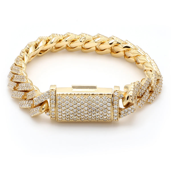 10K Solid Yellow Gold Diamond Cuban Link Bracelet
