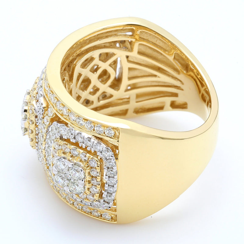 14K Yellow Gold Diamond Three Directions Ring