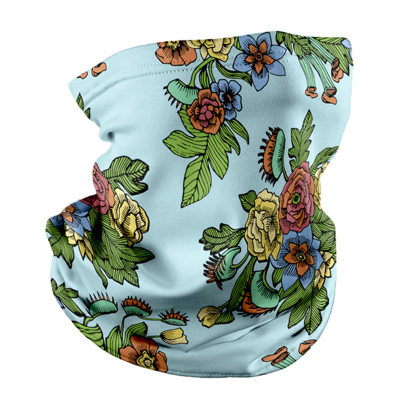 Tattoo Floral Neck Gaiter