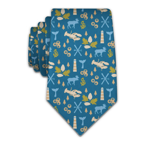 "Maine State Heritage Necktie - Knotty 2.75"" - Blue - Knotty Tie Co."