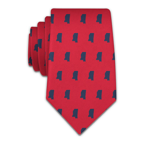 "Mississippi State Outline Necktie - Knotty 2.75"" - Red - Knotty Tie Co."